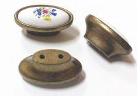 91059 - Knopka porcelánová 33x57 / staromosaz