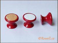 P28 knopka pr.28 červená/dřevo rowell