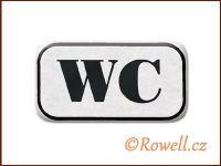 NWC Štítek WC 70x40m stříbrný rowell