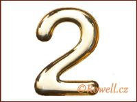 C53 Číslice 53mm zlatá '2' rowell