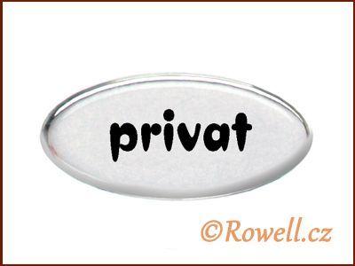 SD Štítek stříbrný 'privat' rowell