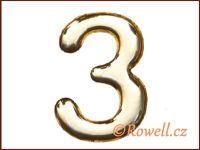 C37 Číslo 37mm zlatá '3' rowell