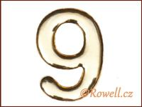C37  Číslo 37mm zlatá '9'