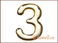 C53 Číslice 53mm zlatá '3' rowell